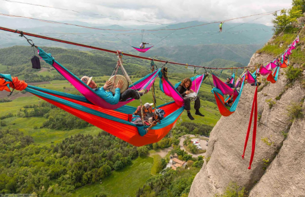 Hammock suspended in hilly area