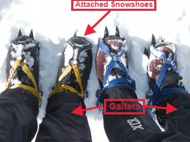 Mountaineering and winter boots with gaiters